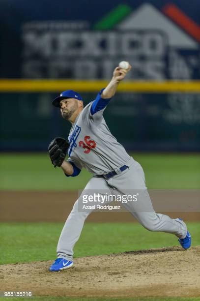 Relief pitcher Adam Liberatore of Los Angeles Dodgers pitches on the seventh inning during the MLB game against the San Diego Padres at Estadio de...