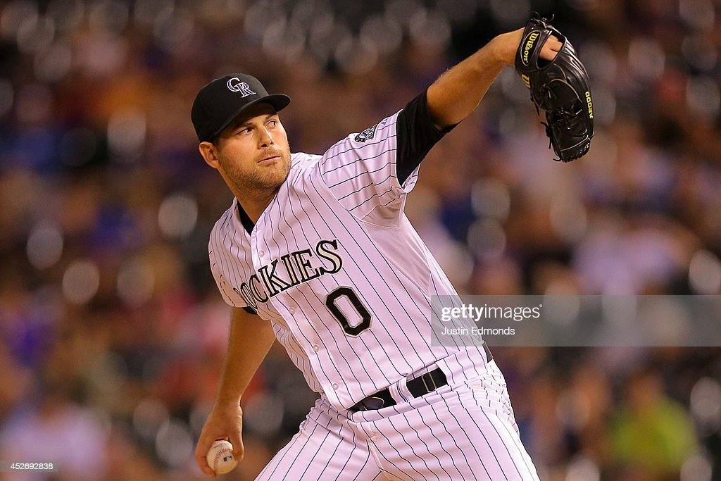 Relief pitcher Adam Ottavino #0 of the Colorado Rockies delivers to home plate during the ninth inning against the Pittsburgh Pirates at Coors Field on July 25, 2014 in Denver, Colorado. The Rockies defeated the Pirates 8-1.