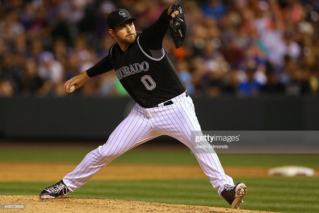Relief pitcher Adam Ottavino #0 of the Colorado Rockies delivers to home plate during the ninth inning against the Philadelphia Phillies at Coors Field on July 7, 2016 in Denver, Colorado. The Rockies defeated the Phillies 11-2.