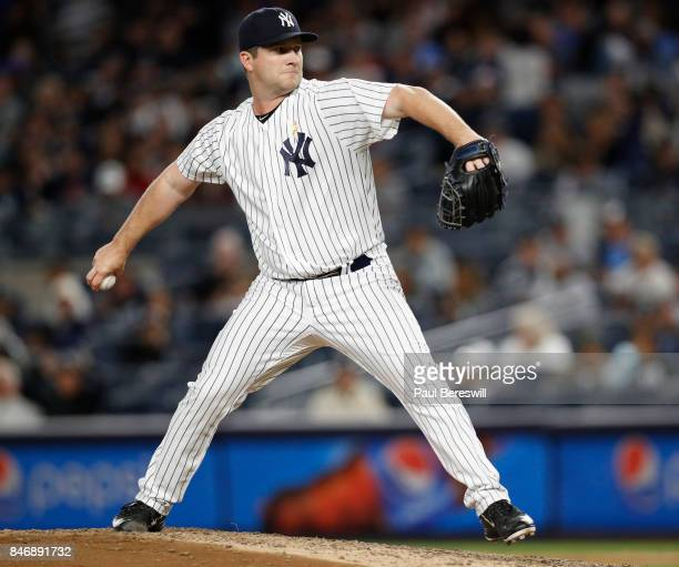 Relief pitcher Adam Warren of the New York Yankees pitches in an MLB baseball game against the Boston Red Sox on September 1 2017 at Yankee Stadium...