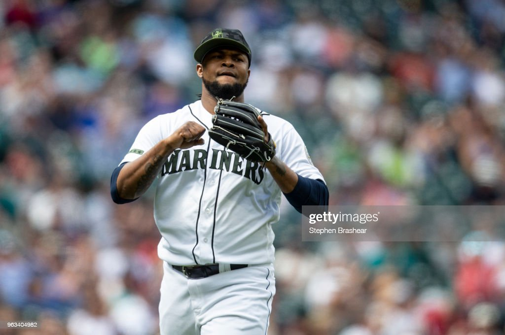 Relief pitcher Alex Colome #48 of the Seattle Mariners reacts after pitching during the eighth inning of a game against the Texas Rangers at Safeco Field on May 28, 2018 in Seattle, Washington. The Mariners won the game 2-1. MLB players across the league are wearing special uniforms to commemorate Memorial Day.