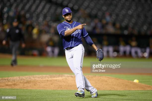 Relief pitcher Alex Colome of the Tampa Bay Rays reacts after the final out of their victory over the Oakland Athletics at Oakland Alameda Coliseum...