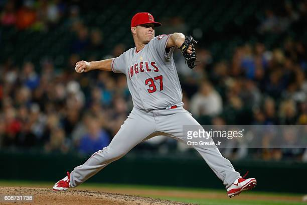 Relief pitcher Andrew Bailey of the Los Angeles Angels of Anaheim pitches against the Seattle Mariners in the seventh inning at Safeco Field on...