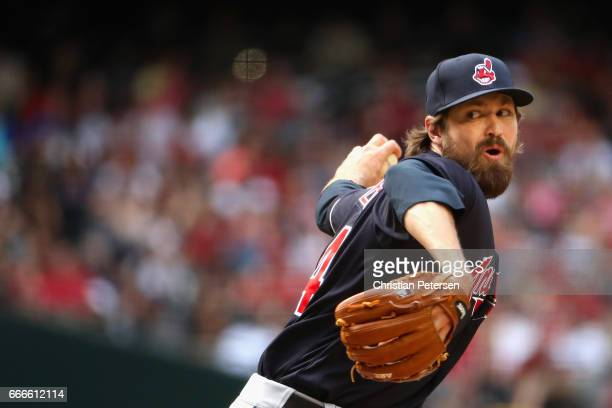 Relief pitcher Andrew Miller of the Cleveland Indians pitches against the Arizona Diamondbacks during the seventh inning of the MLB game at Chase...