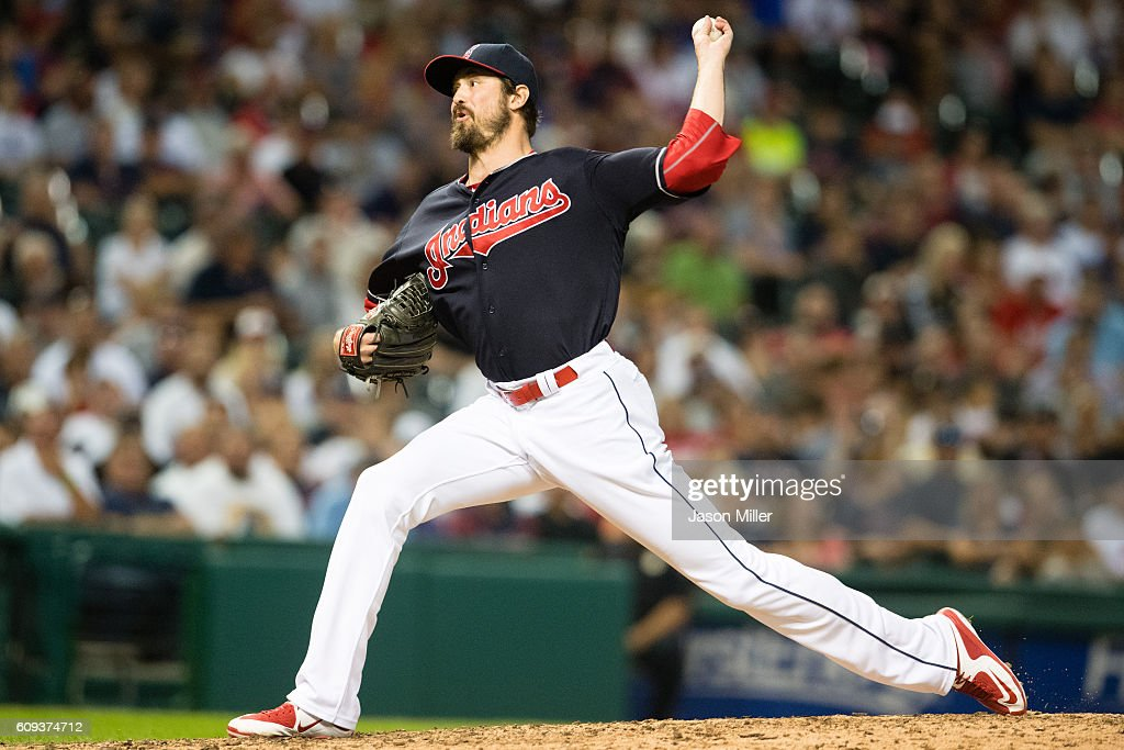 Relief pitcher Andrew Miller #24 of the Cleveland Indians pitches during the eighth inning against the Kansas City Royals at Progressive Field on September 20, 2016 in Cleveland, Ohio. The Indians defeated the Royals 2-1.