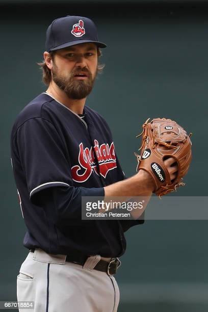 Relief pitcher Andrew Miller of the Cleveland Indians prepares to throw a warm up pitch during the MLB game against the Arizona Diamondbacks at Chase...