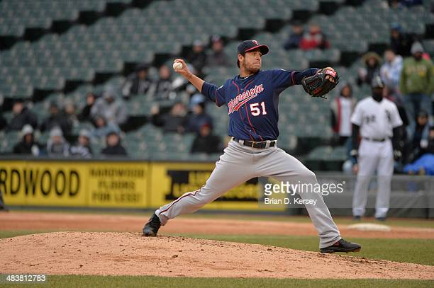 Relief pitcher Anthony Swarzak of the Minnesota Twins delivers during the sixth inning against the Chicago White Sox at US Cellular Field on April 3...