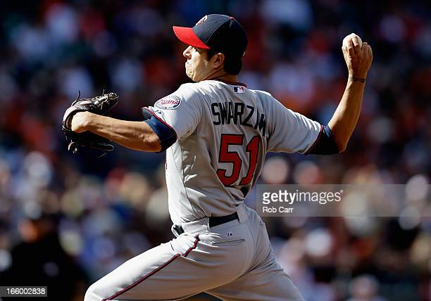 Relief pitcher Anthony Swarzak of the Minnesota Twins throws to a Baltimore Orioles batter at Oriole Park at Camden Yards on April 7 2013 in...