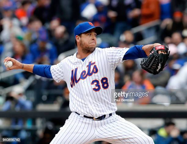 Relief pitcher Anthony Swarzak of the New York Mets pitches during the Mets home opener game of the 2018 MLB baseball season against the St Louis...