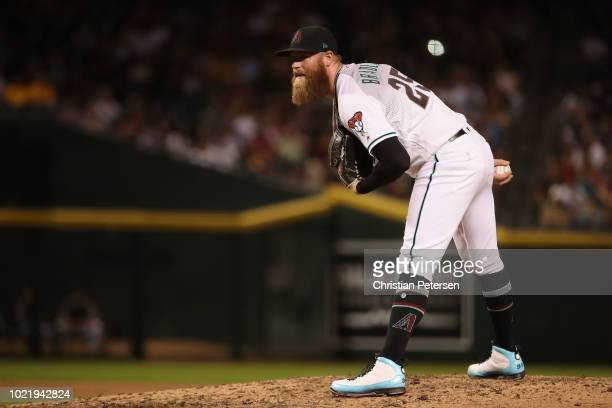 Relief pitcher Archie Bradley of the Arizona Diamondbacks during the MLB game against the Los Angeles Angels at Chase Field on August 21 2018 in...