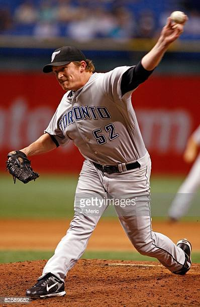 Relief pitcher BJ Ryan of the Toronto Blue Jays pitches the ninth for the save against the Tampa Bay Rays during the game on August 26 2008 at...