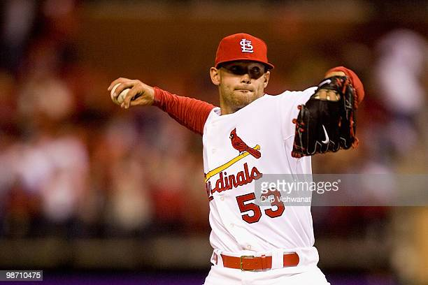 Relief pitcher Blake Hawksworth of the St Louis Cardinals throws against the Atlanta Braves at Busch Stadium on April 27 2010 in St Louis Missouri...