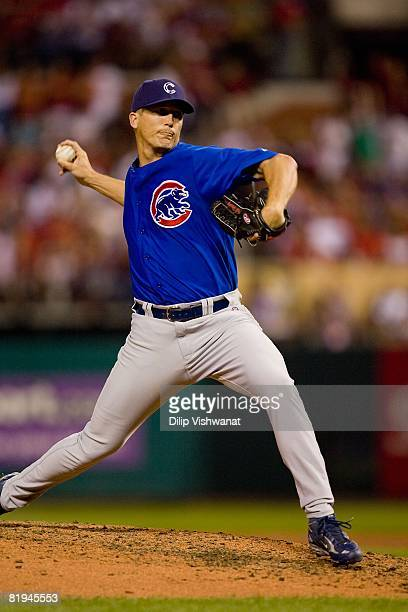 Relief pitcher Bob Howry of the Chicago Cubs throws against the St Louis Cardinals on July 4 2008 at Busch Stadium in St Louis Missouri The Cubs beat...
