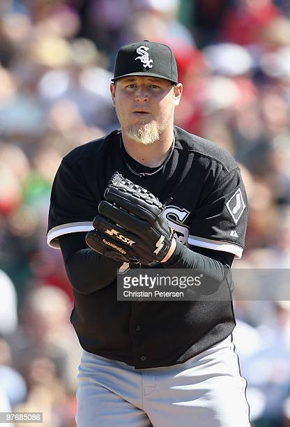 Relief pitcher Bobby Jenks of the Chicago White Sox pitches against the Los Angeles Angels of Anaheim during the MLB spring training game at Tempe...