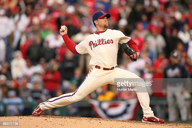 Relief pitcher Brad Lidge of the Philadelphia Phillies throws a pitch during a game against the Atlanta Braves at Citizens Bank Park on April 8 2009...