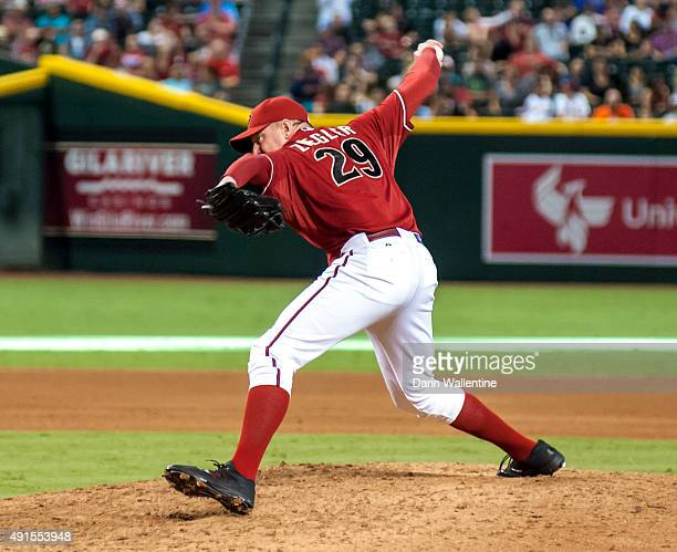 Relief pitcher Brad Ziegler of the Arizona Diamondbacks delivers a pitch during the eighth inning of a MLB game against the Houston Astros on October...