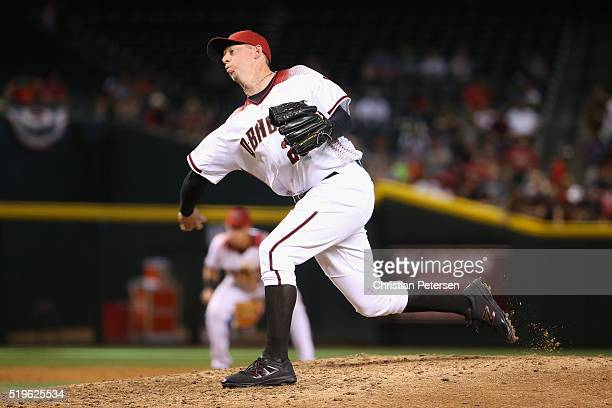 Relief pitcher Brad Ziegler of the Arizona Diamondbacks pitches against the Colorado Rockies during the MLB game at Chase Field on April 6 2016 in...