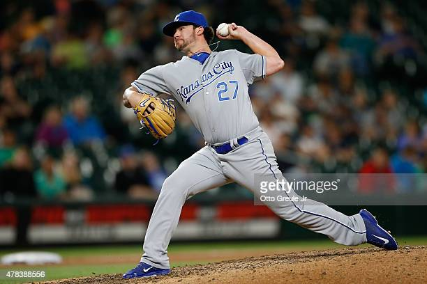 Relief pitcher Brandon Finnegan of the Kansas City Royals pitches against the Seattle Mariners in the ninth inning at Safeco Field on June 24 2015 in...