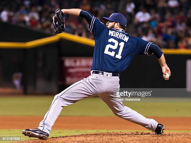 Relief pitcher Brandon Morrow of the San Diego Padres delivers a pitch in the seventh inning against the Arizona Diamondbacks at Chase Field on...