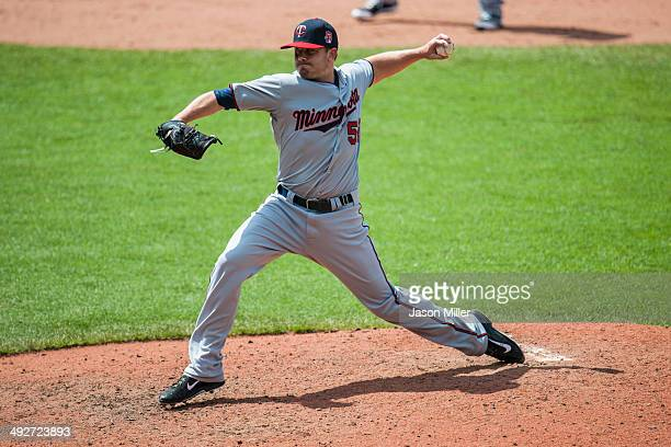 Relief pitcher Brian Duensing of the Minnesota Twins pitches during the seventh inning against the Cleveland Indians at Progressive Field on May 8...