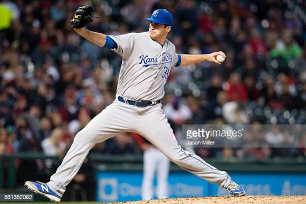 Relief pitcher Brian Flynn of the Kansas City Royals pitches during the fifth inning against the Cleveland Indians at Progressive Field on May 6 2016...