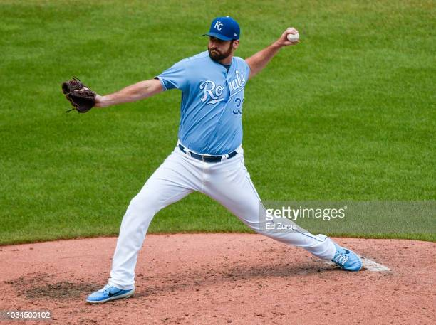Relief pitcher Brian Flynn of the Kansas City Royals throws in the fourth inning against the Minnesota Twins at Kauffman Stadium on September 16 2018...