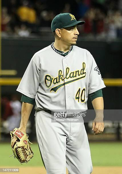 Relief pitcher Brian Fuentes of the Oakland Athletics after taking a loss in a blown save against the Arizona Diamondbacks during the interleague MLB...