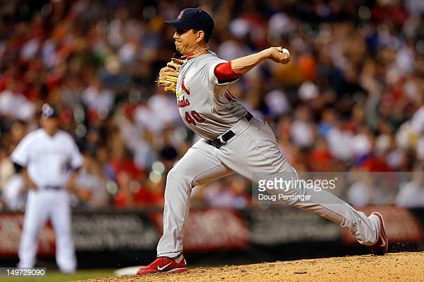 Relief pitcher Brian Fuentes of the St Louis Cardinals delivers against the Colorado Rockies at Coors Field on August 2 2012 in Denver Colorado The...