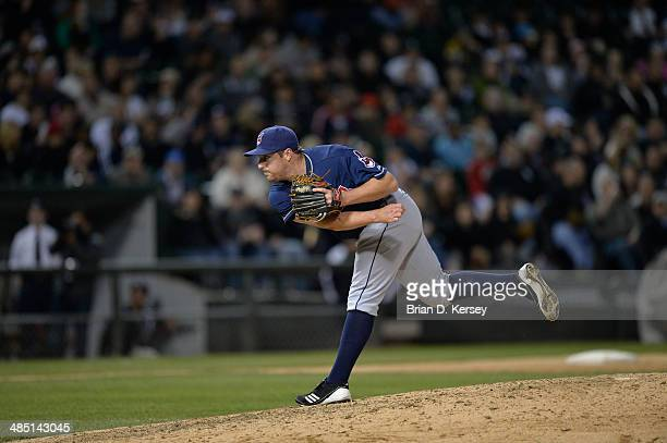Relief pitcher Bryan Shaw of the Cleveland Indians delivers during the sixth inning against the Chicago White Sox at US Cellular Field on April 11...