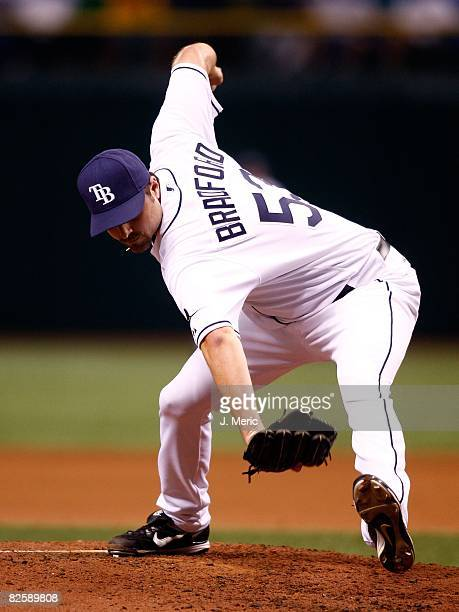 Relief pitcher Chad Bradford of the Tampa Bay Rays pitches against the Toronto Blue Jays during the game on August 26 2008 at Tropicana Field in St...