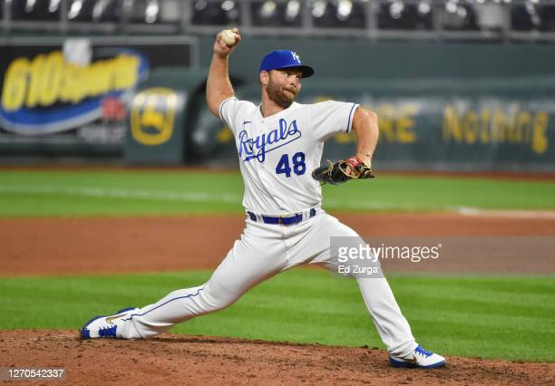 Relief pitcher Chance Adams of the Kansas City Royals throws in the eighth inning against the Chicago White Sox at Kauffman Stadium on September 03,...