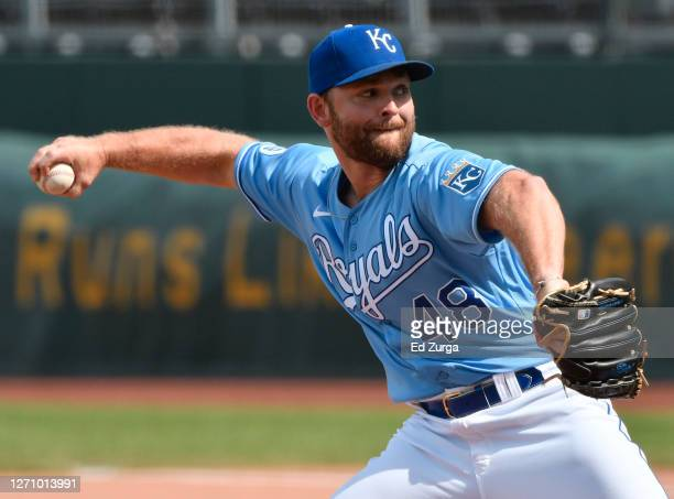 Relief pitcher Chance Adams of the Kansas City Royals throws in the seventh inning against the Chicago White Sox at Kauffman Stadium on September 06,...