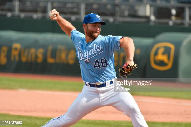 Relief pitcher Chance Adams of the Kansas City Royals throws in the seventh inning against the Chicago White Sox at Kauffman Stadium on September 6,...