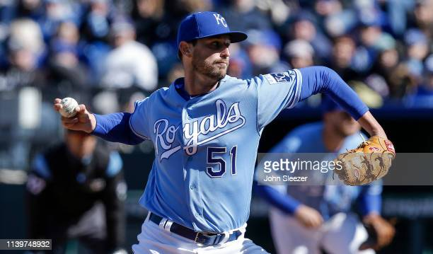 Relief pitcher Chris Ellis throws in the ninth inning during the game against the Chicago White Sox at Kauffman Stadium on March 31 2019 in Kansas...
