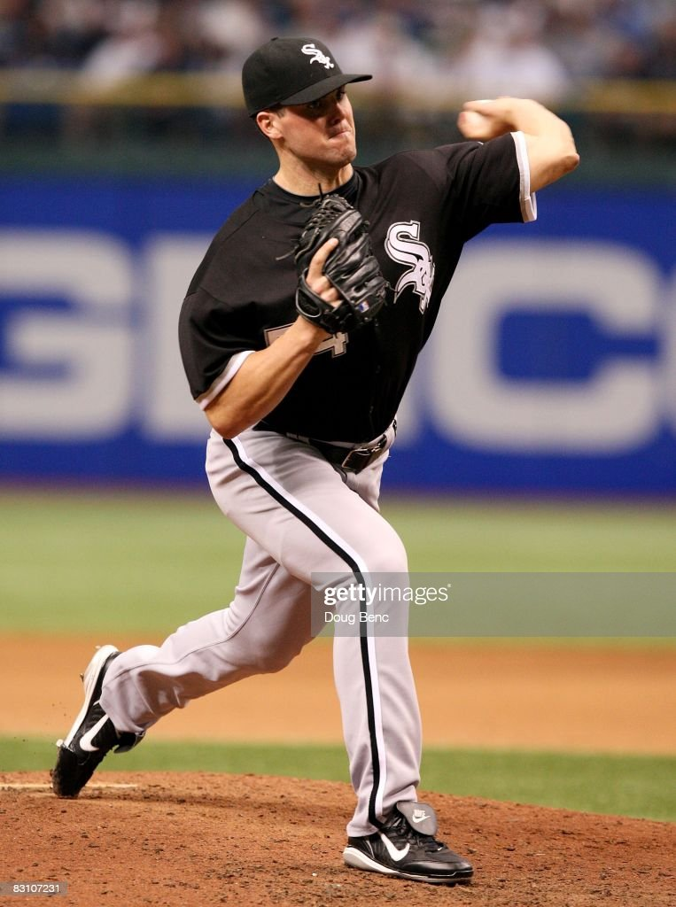 Relief pitcher Clayton Richard #54 of the Chicago White Sox pitches against the Tampa Bay Rays in Game 1 of the American Leaugue Divisional Series at Tropicana Field on October 2, 2008 in St. Petersburg, Florida. The Rays defeated the White Sox 6-4.