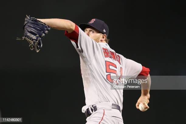 Relief pitcher Colten Brewer of the Boston Red Sox throws a warmup pitch during the MLB game against the Arizona Diamondbacks at Chase Field on April...