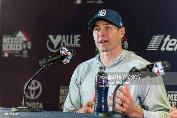 Relief pitcher Craig Stammen of San Diego Padres speaks during the press conference at the end of the MLB game against the Los Angeles Dodgers at...
