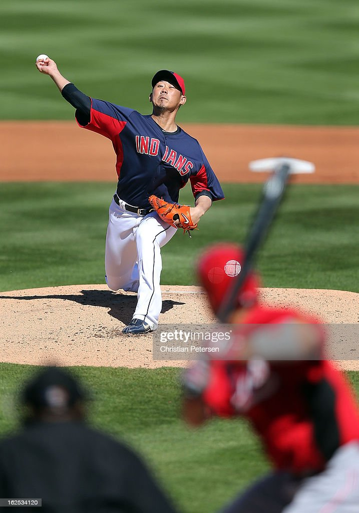Relief pitcher Daisuke Matsuzaka #20 of the Cleveland Indians pitches against the Cincinnati Reds during the spring training game at Goodyear Ballpark on February 24, 2013 in Goodyear, Arizona