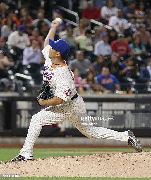 Relief pitcher Daisuke Matsuzaka of the New York Mets pitches in the ninth inning against the Atlanta Braves during the game at Citi Field on August...