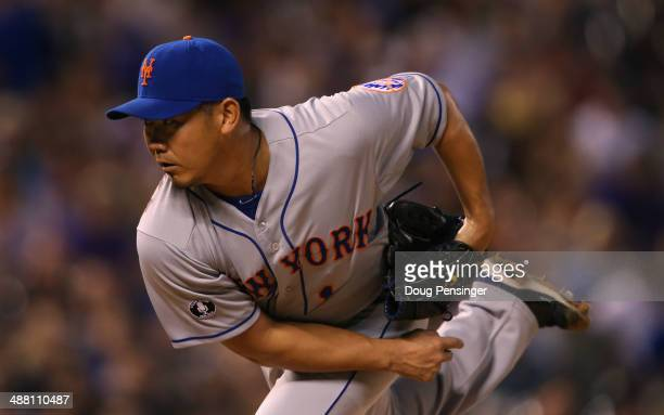 Relief pitcher Daisuke Matsuzaka of the New York Mets works against the Colorado Rockies at Coors Field on May 3 2014 in Denver Colorado The Rockies...
