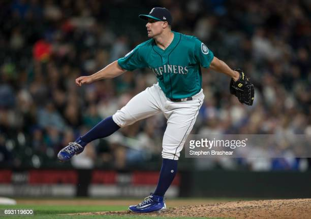 Relief pitcher Dan Altavilla of the Seattle Mariners delivers a pitch during a game against the Tampa Bay Rays at Safeco Field on June 2 2017 in...