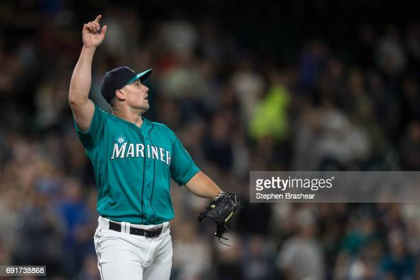 Relief pitcher Dan Altavilla of the Seattle Mariners gestures as the final out is made in a game against the Tampa Bay Rays at Safeco Field on June 2...
