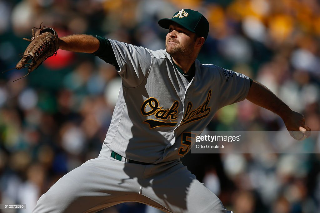 Relief pitcher Daniel Coulombe #57 of the Oakland Athletics pitches against the Seattle Mariners in the eighth inning at Safeco Field on October 2, 2016 in Seattle, Washington. The Athletics defeated the Mariners 3-2.