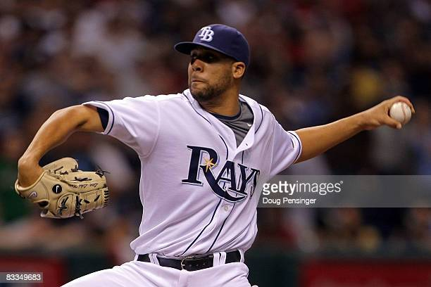 Relief pitcher David Price of the Tampa Bay Rays delivers a pitch against the Boston Red Sox in game seven of the American League Championship Series...