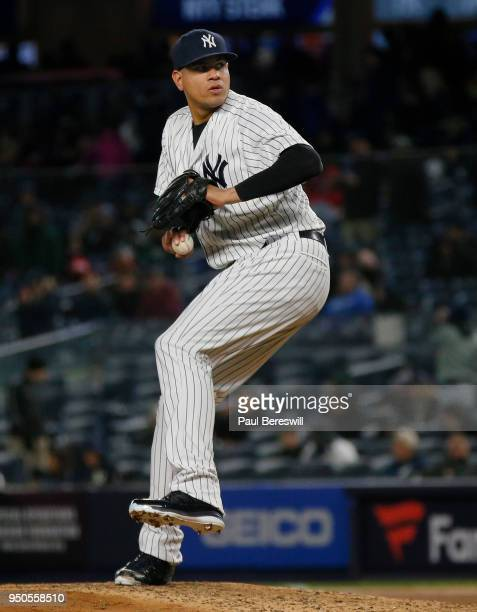 Relief pitcher Dellin Betances of the New York Yankees pitches in an MLB baseball game against the Toronto Blue Jays on April 19 2018 at Yankee...
