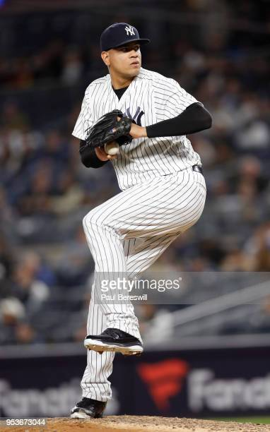 Relief pitcher Dellin Betances of the New York Yankees pitches in an MLB baseball game against the Minnesota Twins on April 24 2018 at Yankee Stadium...