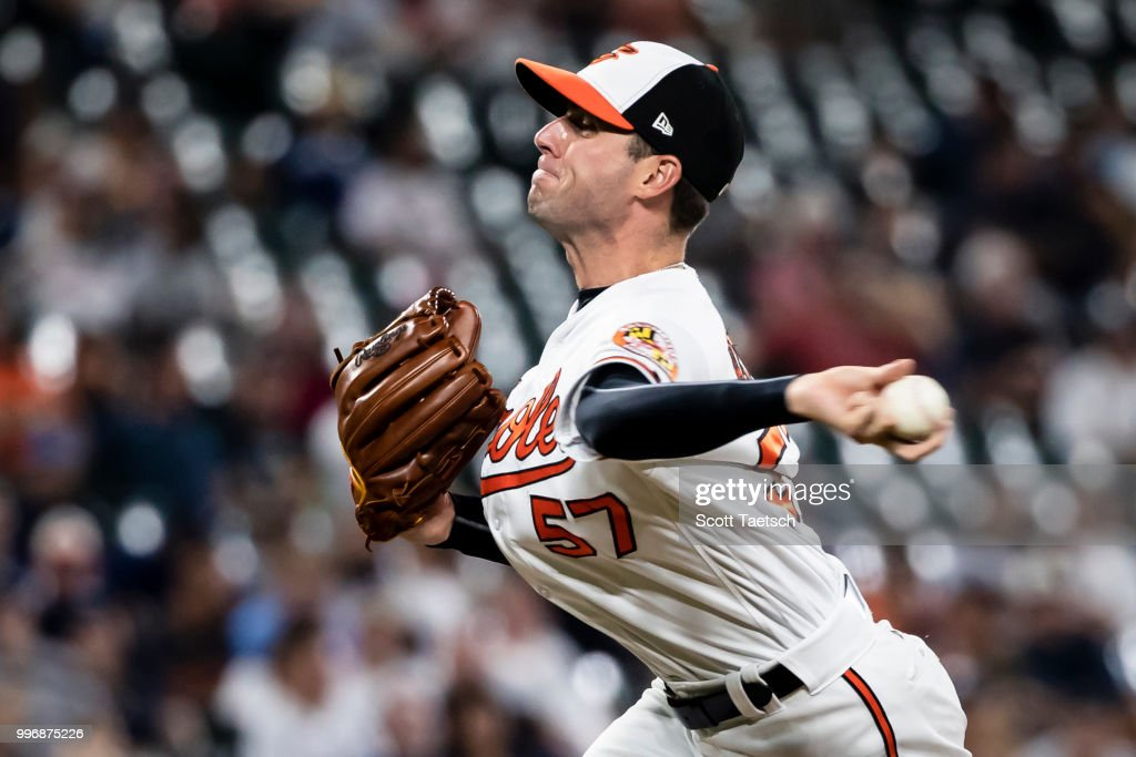 Relief pitcher Donnie Hart #57 of the Baltimore Orioles pitches against the New York Yankees during the eighth inning at Oriole Park at Camden Yards on July 11, 2018 in Baltimore, Maryland.