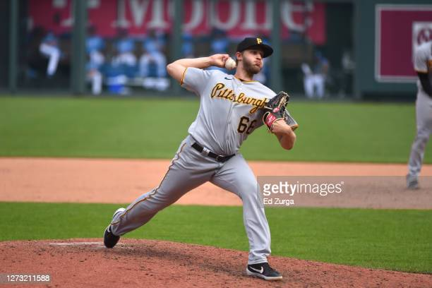 Relief pitcher Dovydas Neverauskas of the Pittsburgh Pirates throws in the sixth inning against the Kansas City Royals at Kauffman Stadium on...