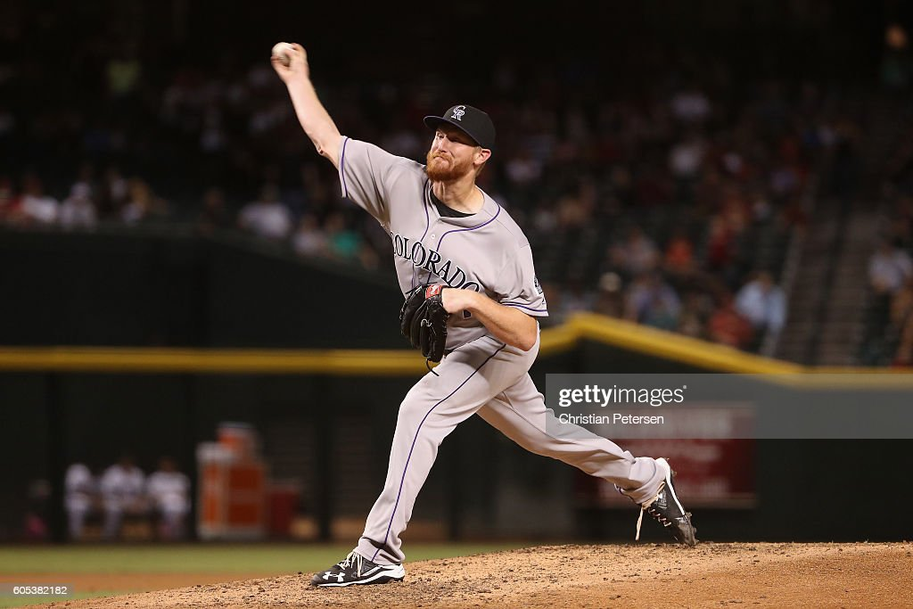 Relief pitcher Eddie Butler #31 of the Colorado Rockies pitches against the Arizona Diamondbacks during the fourth inning of the MLB game at Chase Field on September 13, 2016 in Phoenix, Arizona.