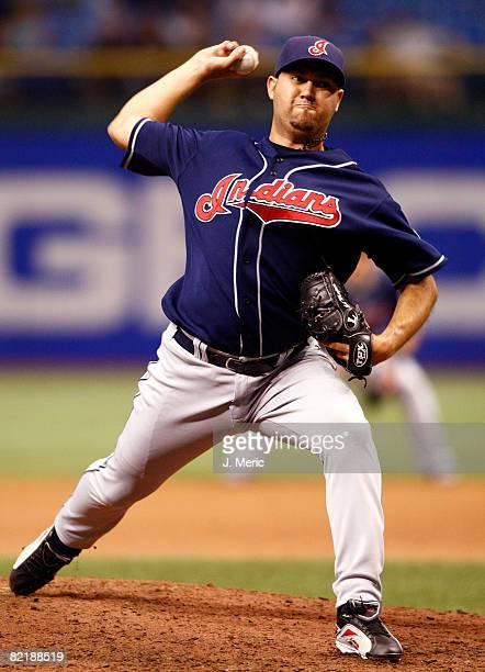 Relief pitcher Edward Mujica of the Cleveland Indians pitches against the Tampa Bay Rays during the game on August 5 2008 at Tropicana Field in St...